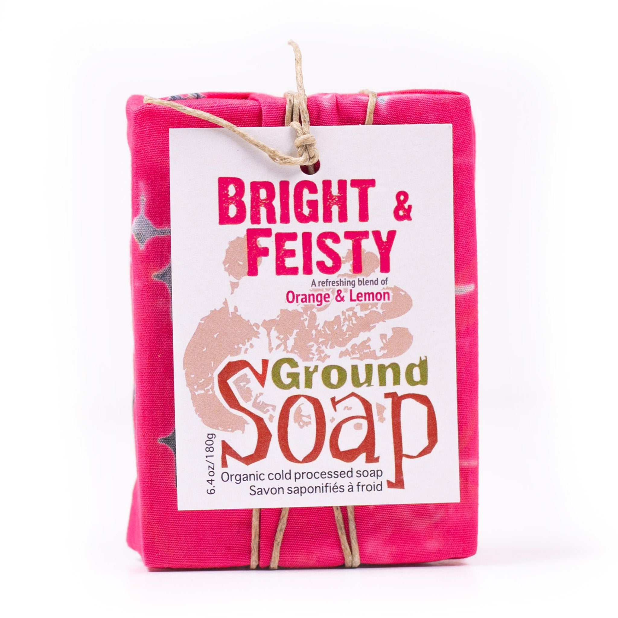 Bright & Feisty citrus essential oil blend organic bar soap from ground Soap.