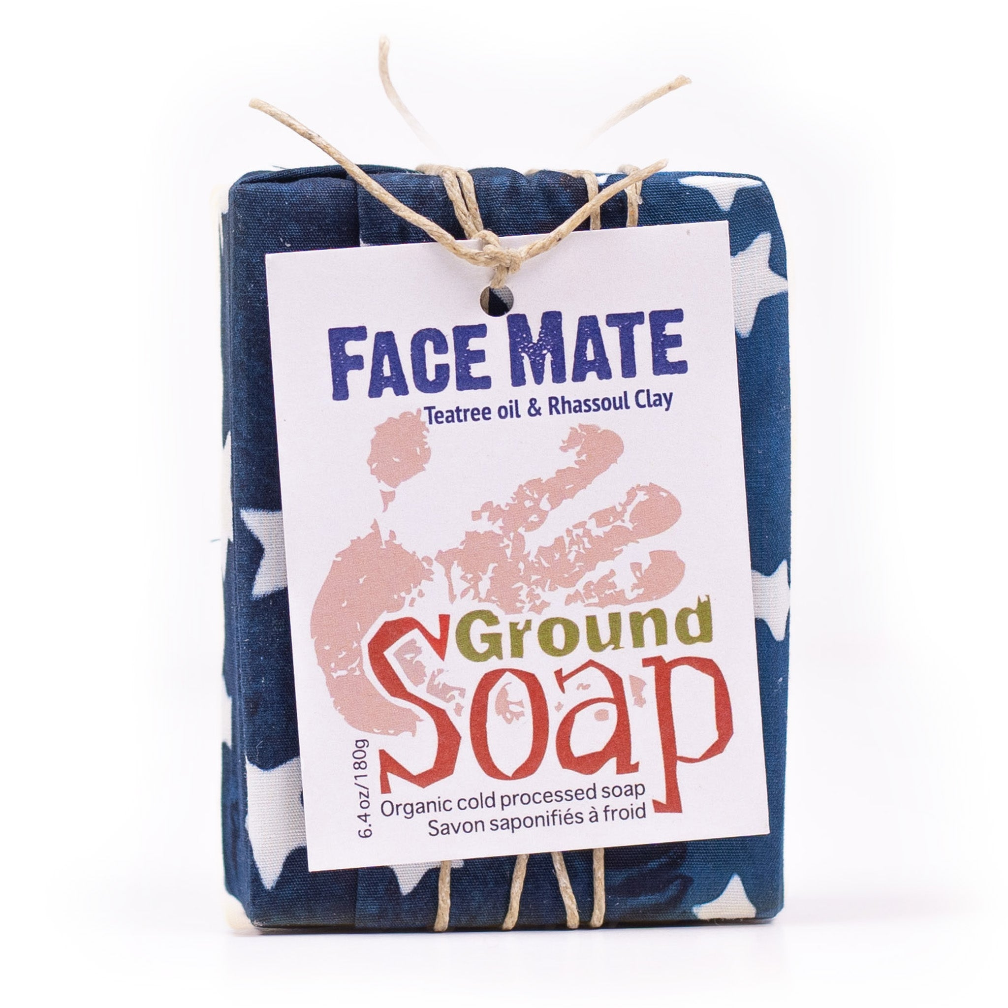 Face Mate Teatree essential oil and rhassoul clay organic bar soap from ground Soap.