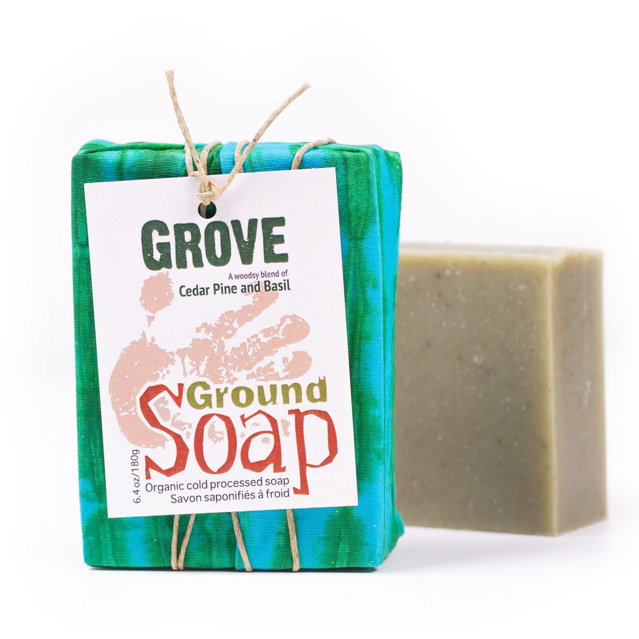 Grove cedar & Pine essential oil and rhassoul clay organic bar soap from ground Soap.
