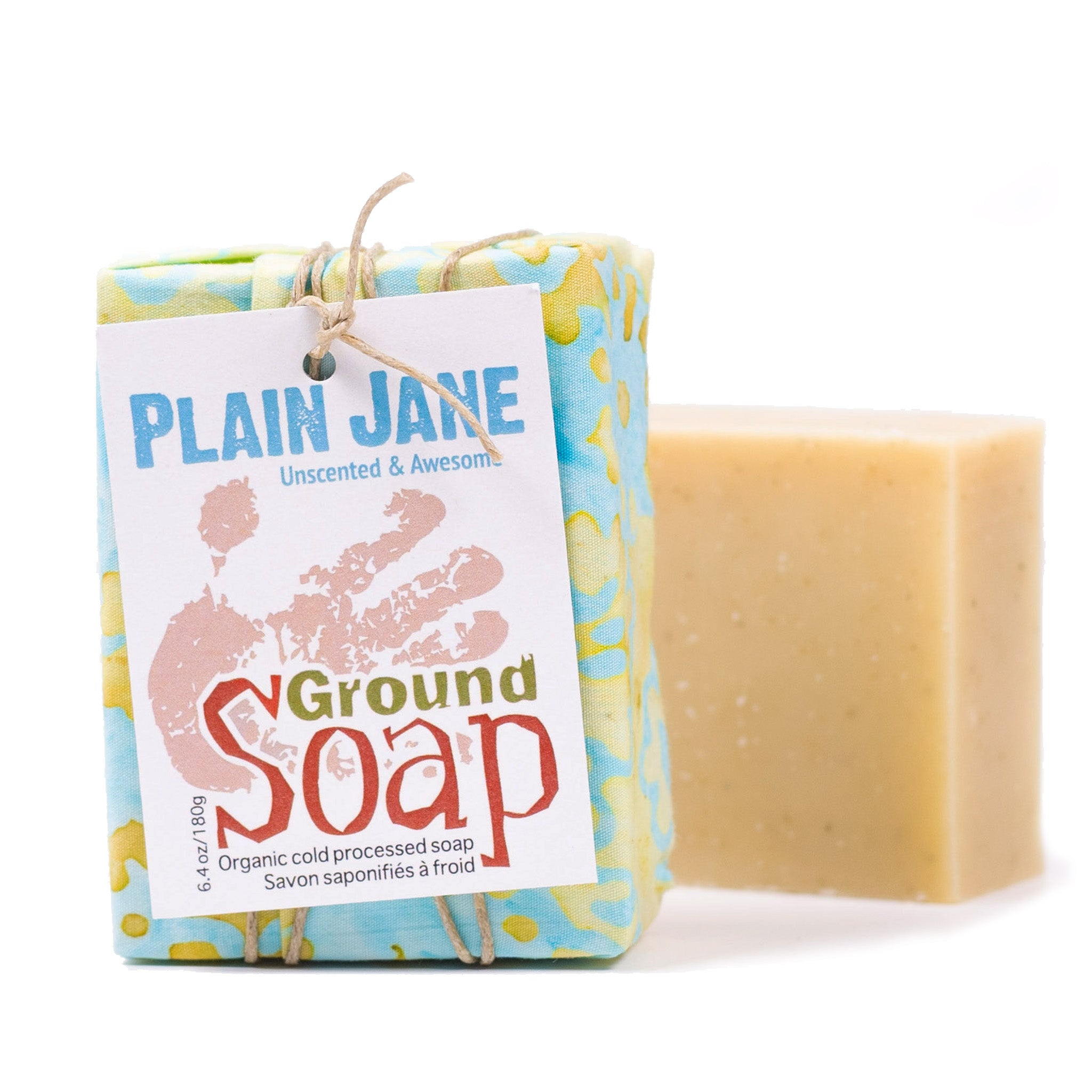 Plain Jane Unscented organic bar soap from ground Soap.