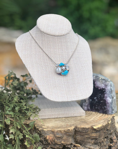 Sleeping Beauty Pearl and Turquoise Necklace