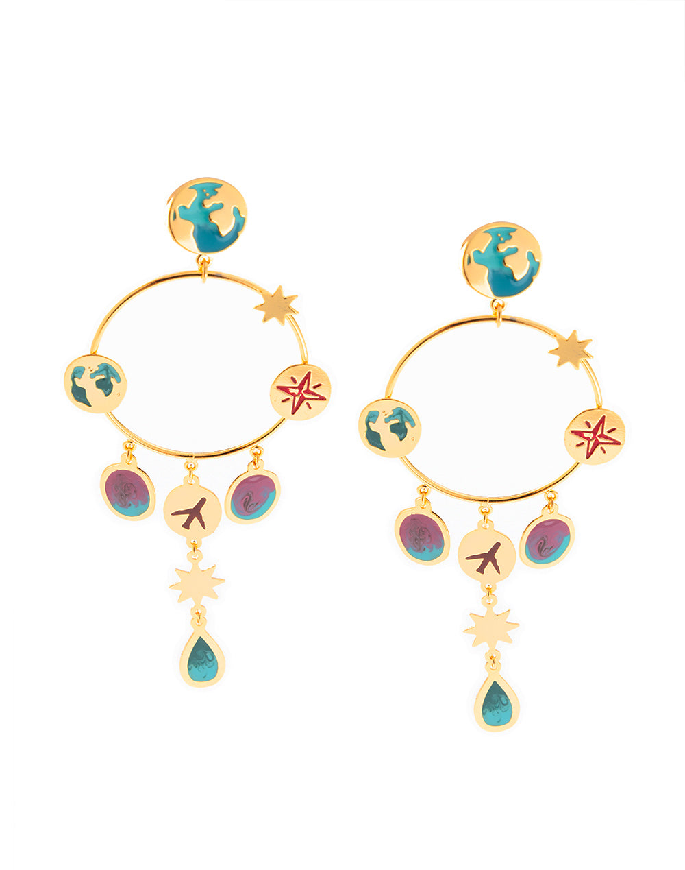 Aretes Around The World Oro