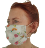 Jackie's Classic White Floral Face Mask (1 ADULT Size Mask + 5 Filters)