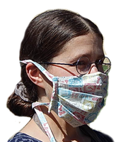 Carisa's Mechanical Time 4-Tie Face Mask (1 ADULT Size Mask + 5 Filters)