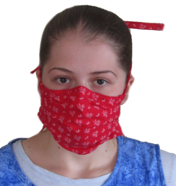 Carisa's Red Floral Print 4-Tie Face Mask (1 ADULT Size Mask)