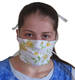 Carisa's Yellow Roses 4-Tie Face Mask (1 ADULT Size Mask + 5 Filters)