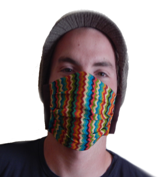Carisa's ZigZag Rainbow 4-Tie Face Mask (1 ADULT Size Mask)