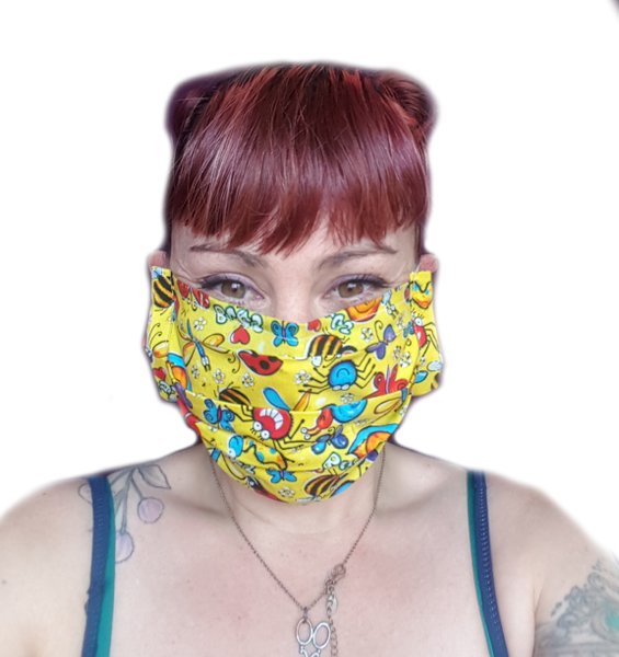 Lexi's Yellow Bug Face Mask (1 CHILD Size Mask)