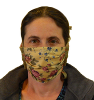 Carisa's Antique Floral 4-Tie Face Mask (1 ADULT Size Mask + 5 Filters)