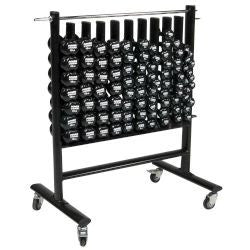 Neoprene/Vinyl Dumbbell Storage Rack w/ Casters