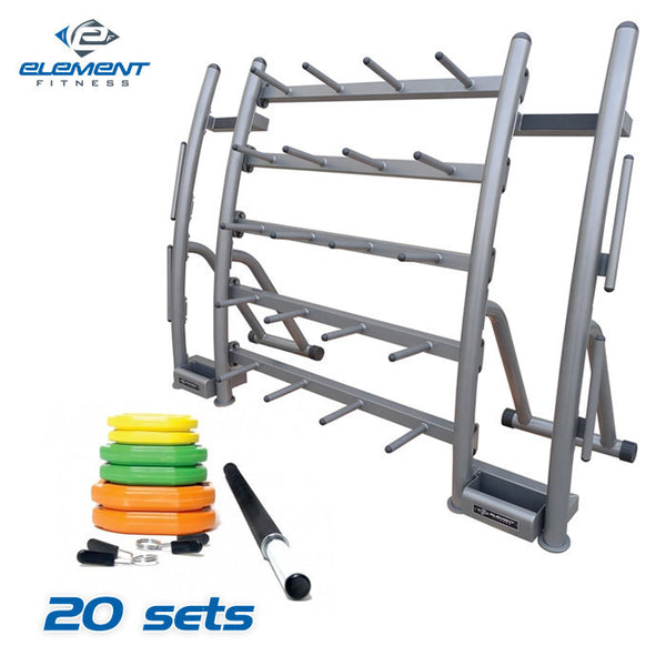 Element Fitness Cardio Pump Group Pack - 20 Sets plus Rack