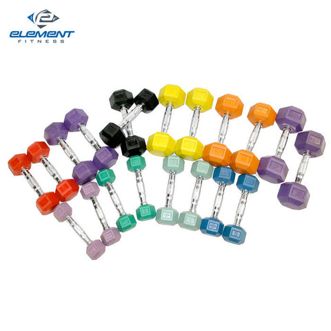 Element Fitness Colored Aerobic Hex Dumbbell Set 2lbs -12 lbs