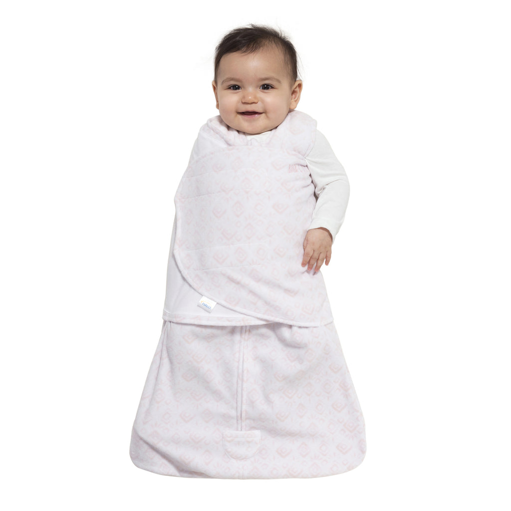 Halo SleepSack Swaddle Fleece Diamonds & Leaves Pink