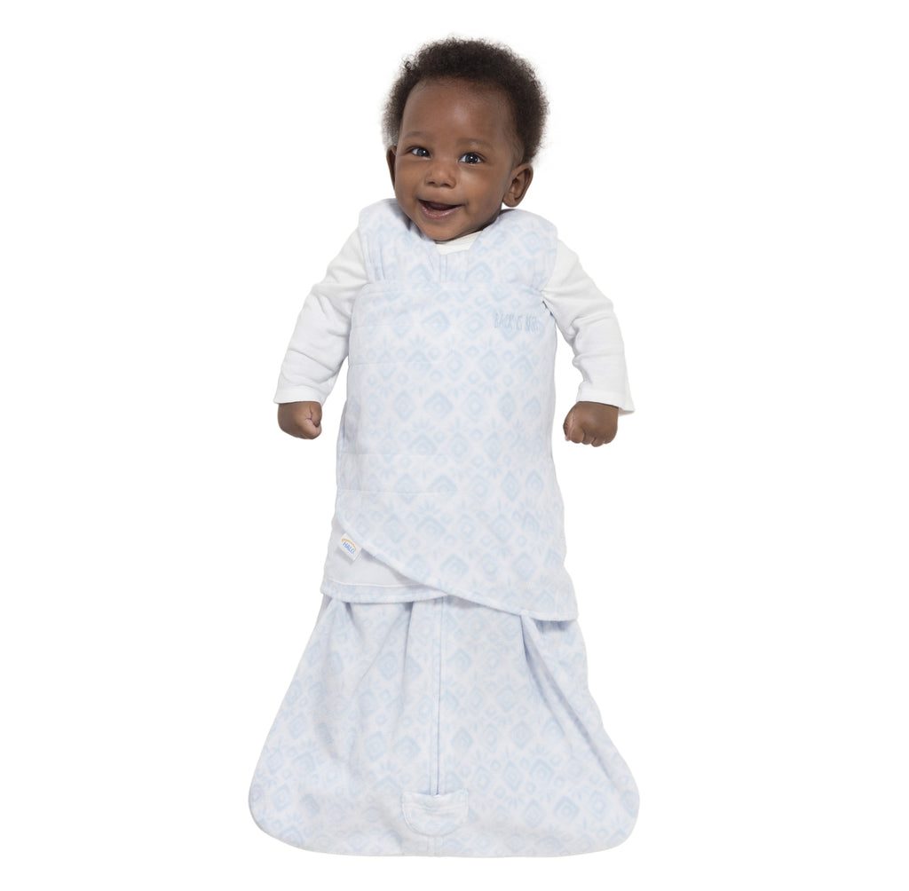 Halo SleepSack Swaddle Fleece Diamonds & Leaves Blue