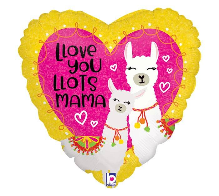 "18"" Llama Love Holographic Heart Balloon - Tadpole"
