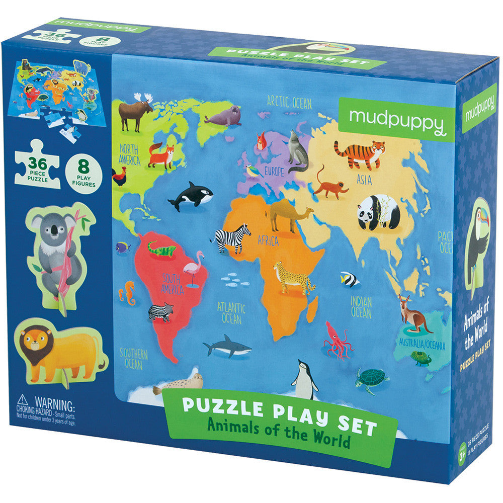 Mudpuppy Puzzle Play Set Animals of the World