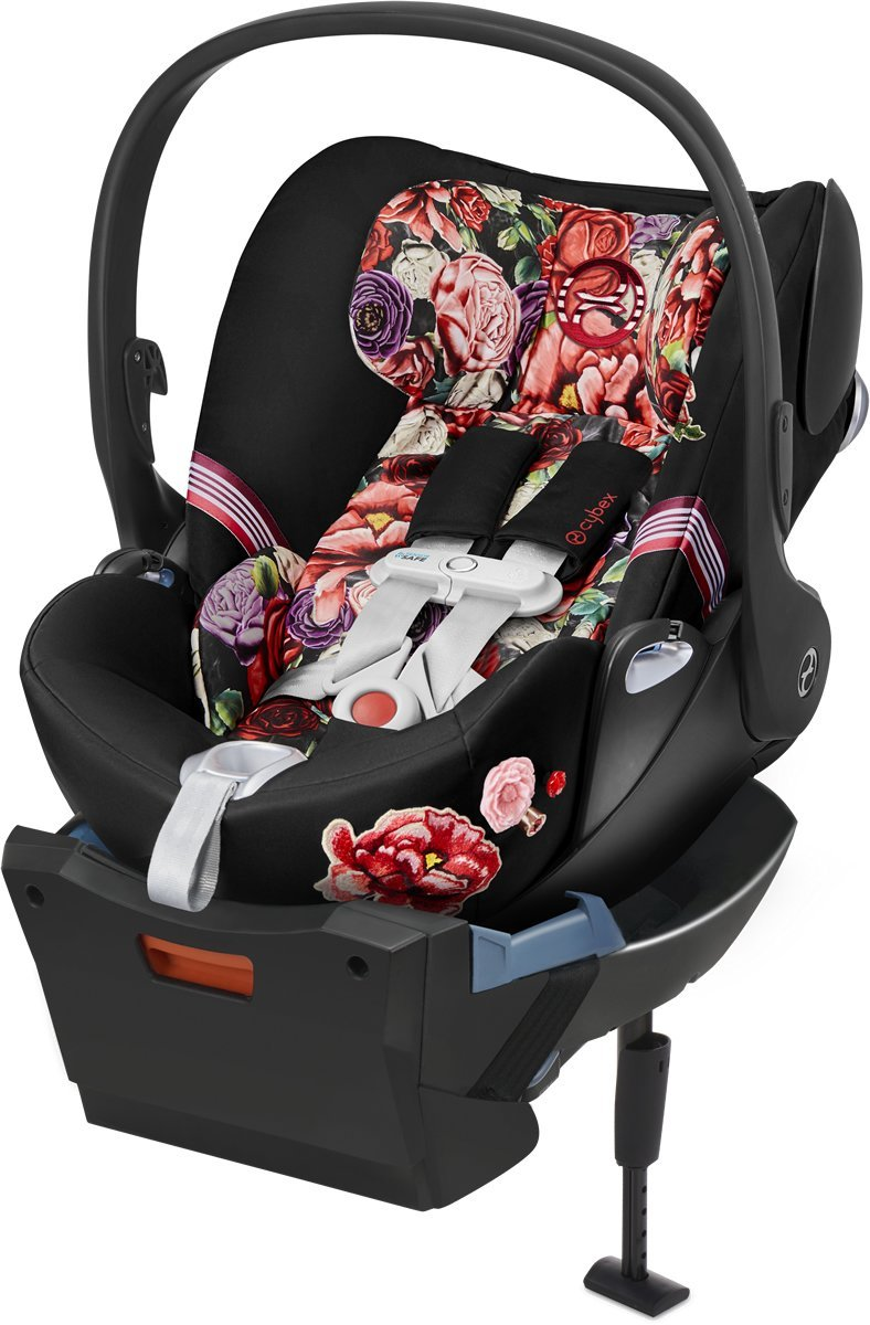 Cybex 2019 Cloud Q SensorSafe Infant Car Seat - Spring Blossom Dark - Tadpole
