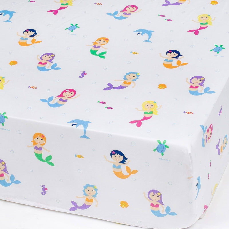 Mermaids Microfiber Fitted Crib Sheet - Tadpole