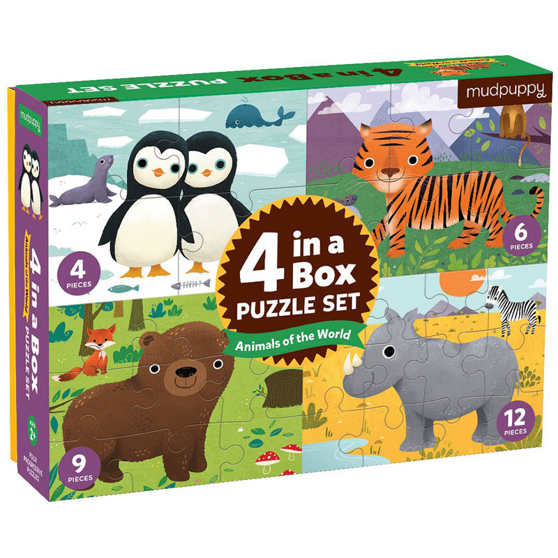 Mudpuppy 4-in-a-Box Puzzle Set Animals of the World