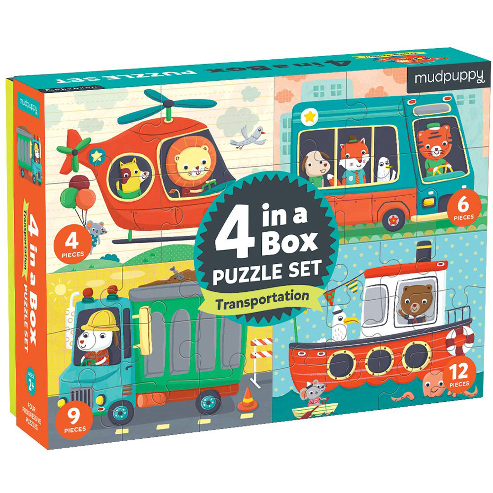Mudpuppy 4-in-a-Box Puzzle Set Transportation