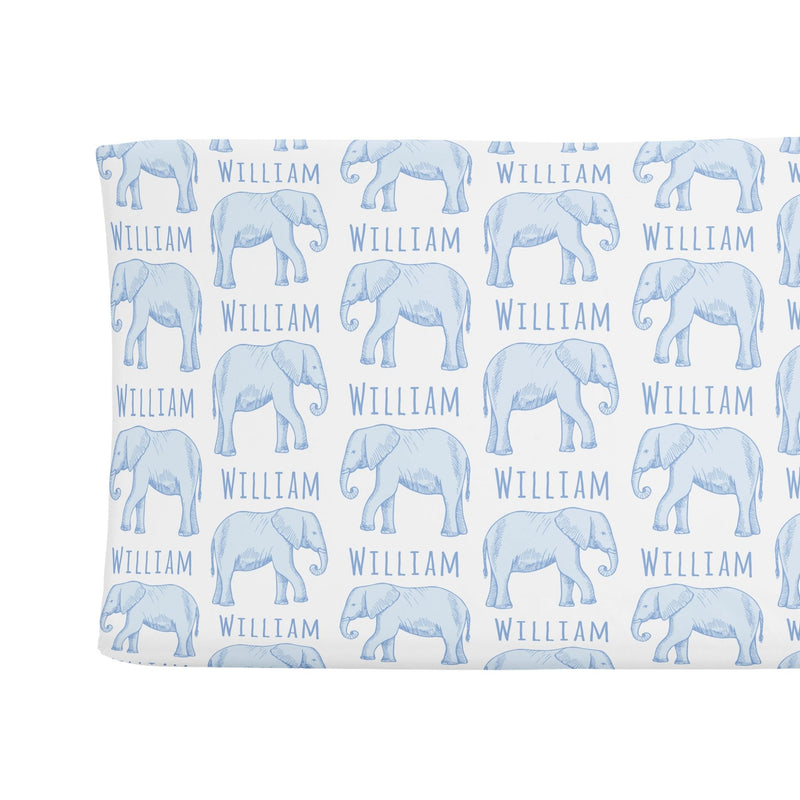 Sugar + Maple Changing Pad Cover - Elephant Blue - Tadpole