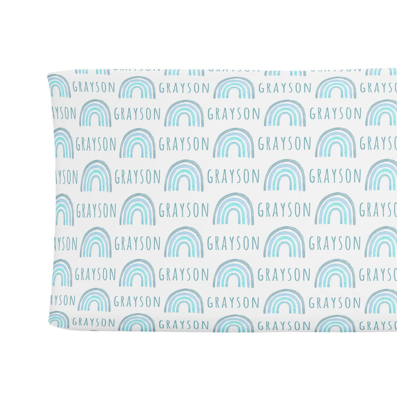 Sugar + Maple Changing Pad Cover - Rainbow Blue - Tadpole