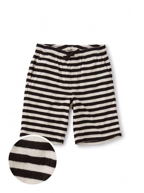 Terry Striped Vacation Shorts- Jet Black - Tadpole