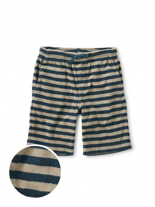 Terry Striped Vacation Shorts- Teal - Tadpole