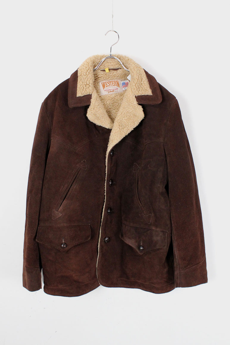 90'S SUEDE JACKET W/BOA LINNING / BROWN/BEIGE [SIZE: 40 USED]