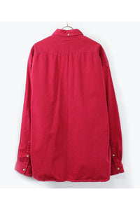 90'S L/S BD COTTON SHIRT / RED [SIZE: XL USED][金沢店]