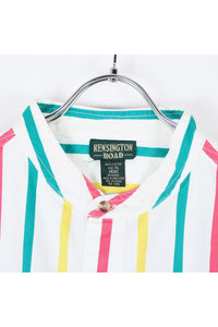 90'S L/S STAND COLLAR STRIPE SHIRT / MULTI [SIZE: XL USED][小松店]