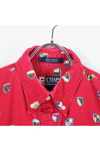 90'S L/S EMBLEM PATTERN SHIRT / RED [SIZE: L USED][小松店]