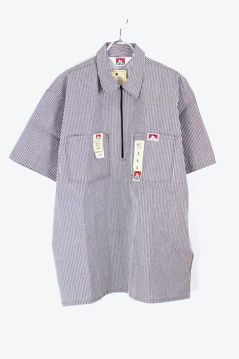 MADE IN USA S/S PULLOVER STRIPE SHIRT / BROWN/WHITE [SIZE: L DEAD STOCK][金沢店]