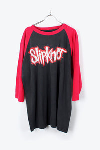 RAGLAN SLEEVES SLIPKNOT BAND T-SHIRT / BLACK/RED [SIZE:L相当 USED] [小松店]