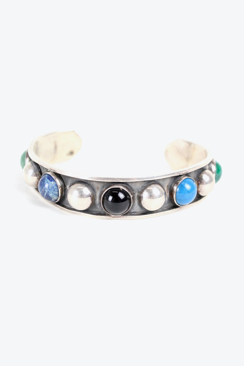 MADE IN MEXICO 925 SILVER BANGLE STONE【ONE SIZE: USED】【金沢店】