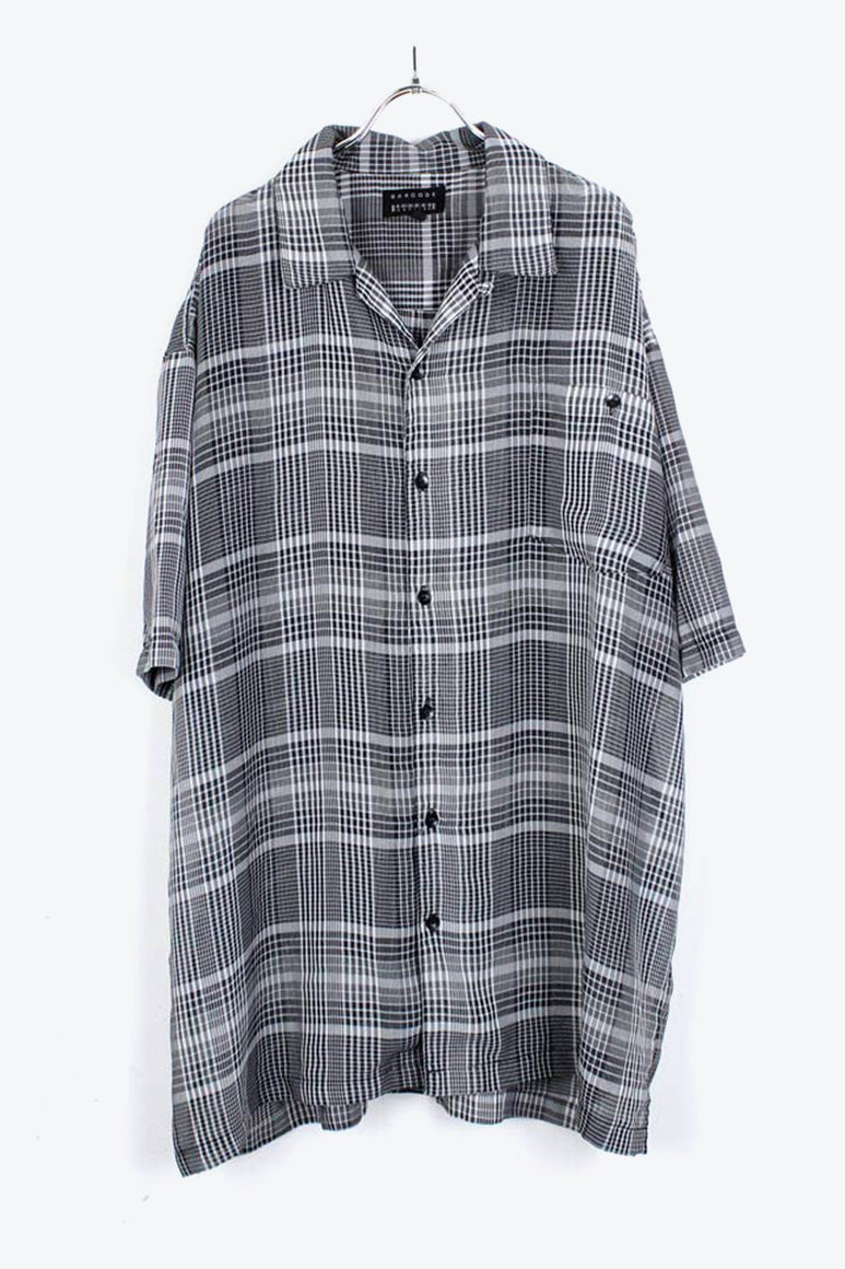 S/S OPEN COLLAR CHECK SHIRT / CHARCOAL【SIZE:2XL USED】【金沢店】