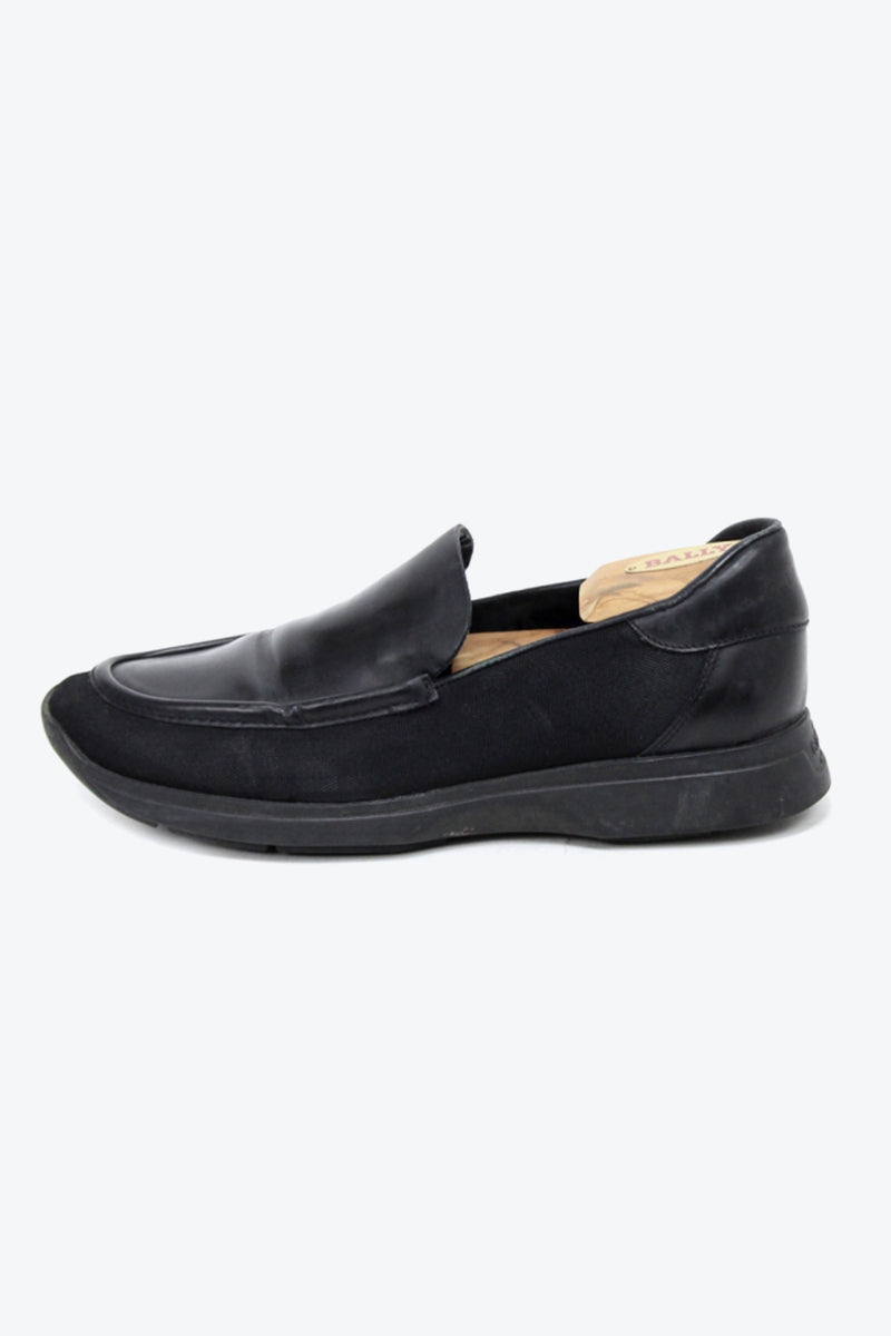 MADE IN ITALY CANVAS LEATHER LOAFER / BLACK [SIZE: 38 1/2C USED][金沢店]