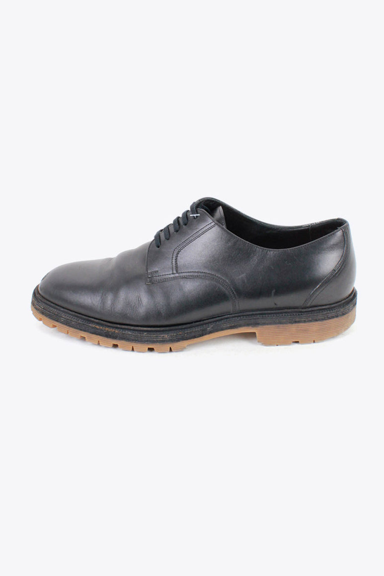MADE IN ITALY PLAIN TOE LEATHER SHOES / BLACK [SIZE: US9相当(27cm相当) USED]