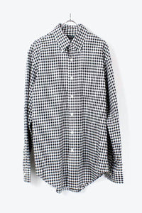 GINGHAM CHECK SHIRT / WHITE BLACK [SIZE: L相当 USED][小松店]