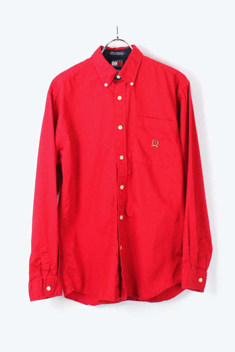 90'S L/S BD COTTON TWILL SHIRT / RED [SIZE: L USED][金沢店]