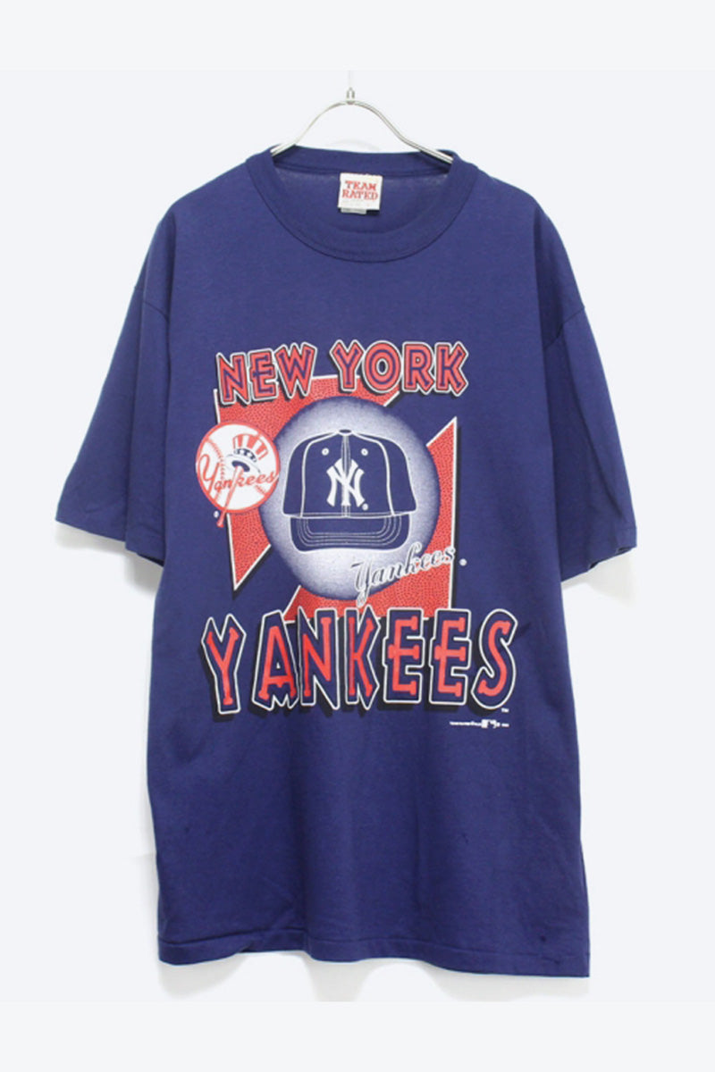 MADE IN USA 90'S NEW YORK YANKEES PRINT T-SHIRT / NAVY [SIZE:L USED] [金沢店]