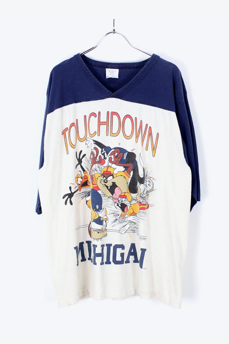 MADE IN USA 80'S MICHIGAN FOOTBALL T-SHIRT / NAVY/WHITE [SIZE:XL USED] [小松店]