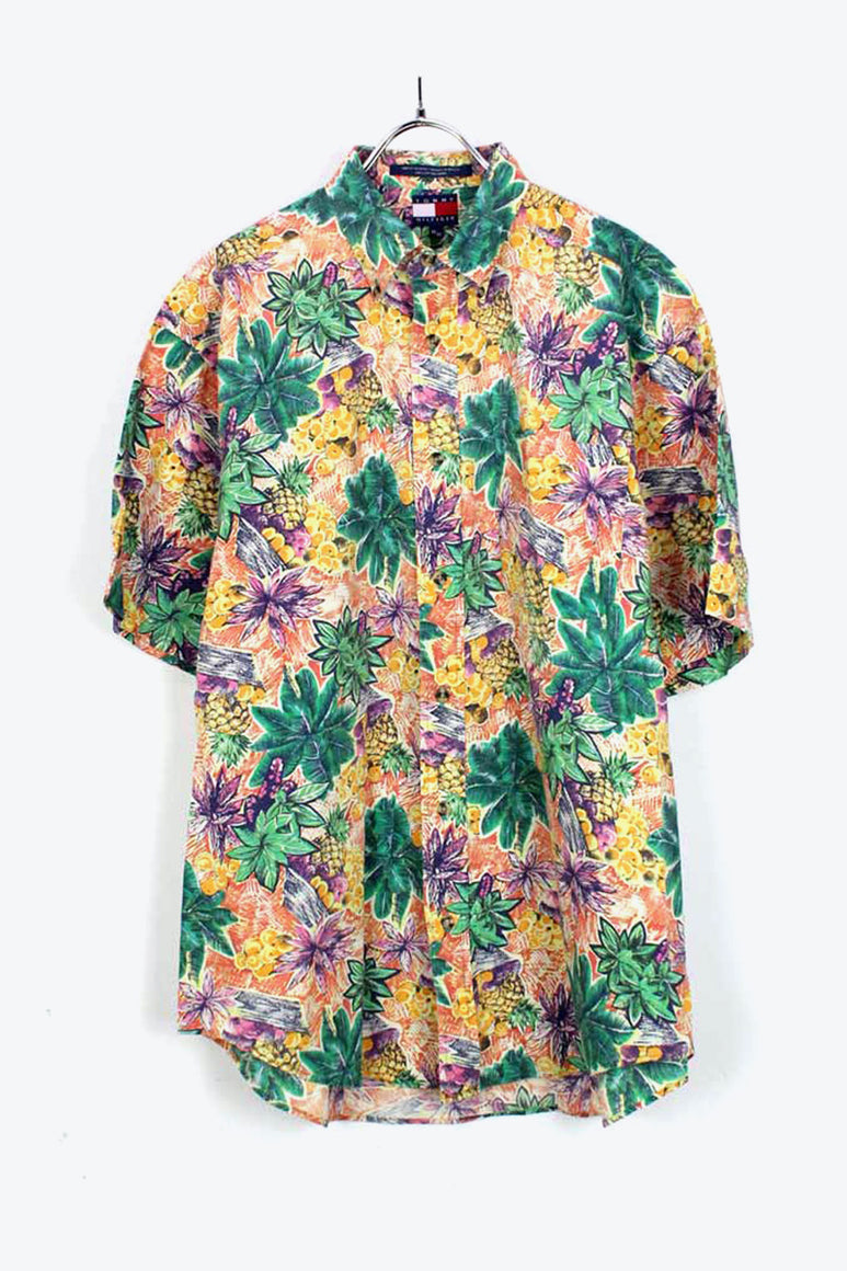 90'S S/S BD COTTON HAWAIIAN SHIRT / YELLOW/GREEN【SIZE:M USED】【金沢店】