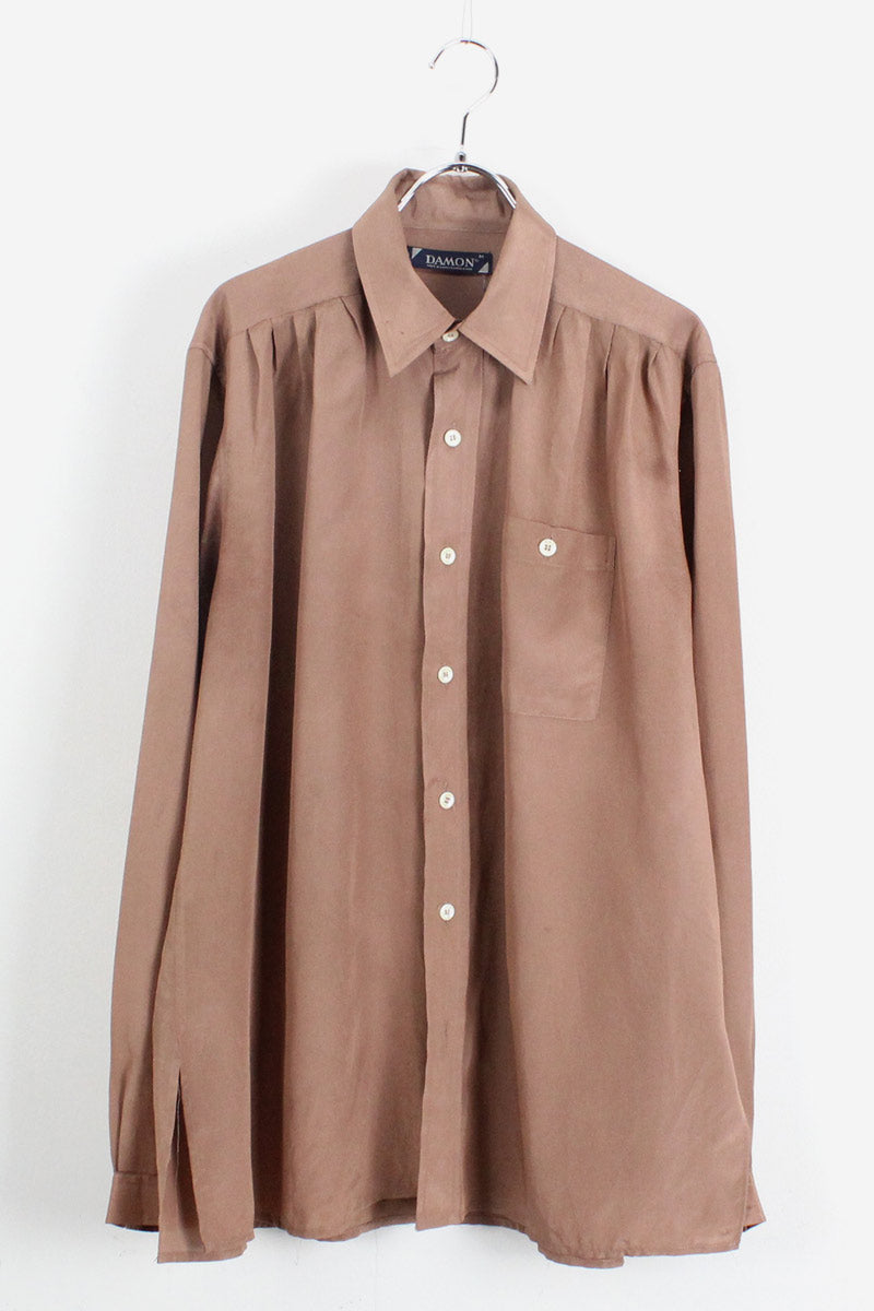 90'S L/S POLYESTER SHIRT / LIGHT BROWN【SIZE:M USED】【金沢店】