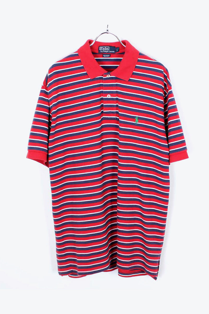 S/S BORDER POLO SHIRT / NAVY/RED【SIZE:L USED】【小松店】
