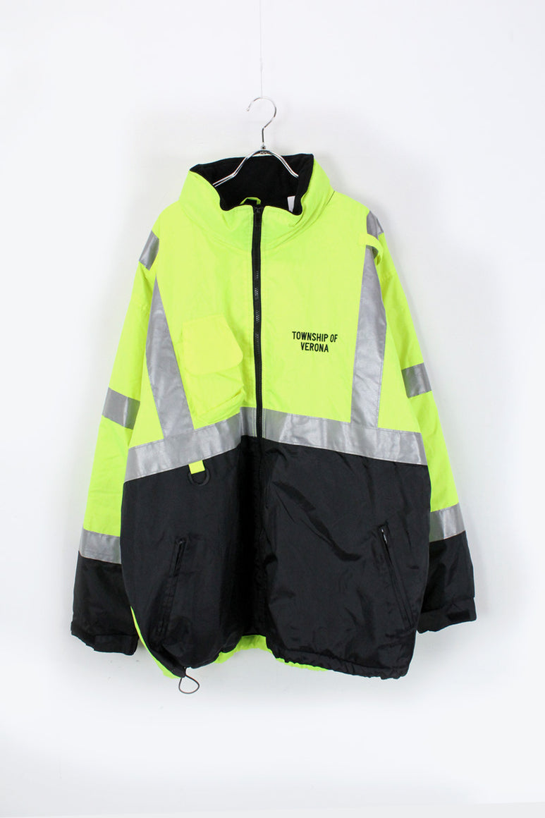 90'S REFLECTOR NYLON ZIP UP PUFF JACKET / NEON YELLOW [SIZE: 3XL USED]