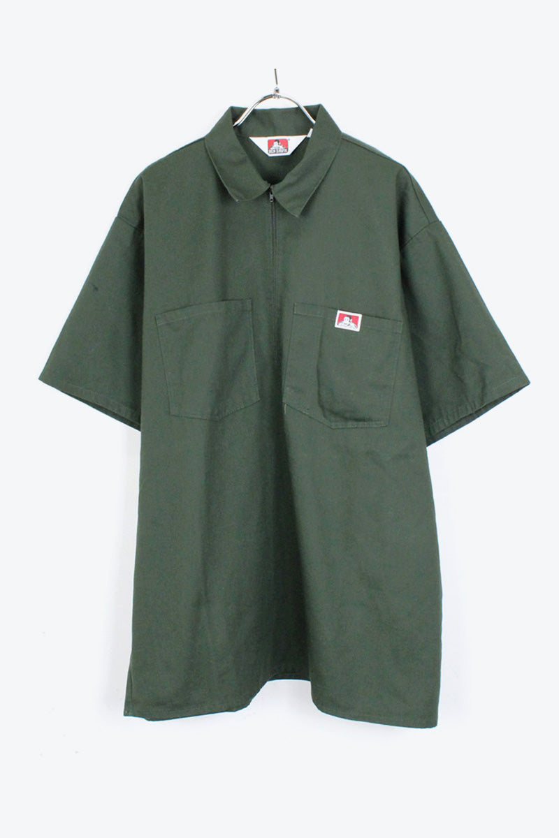 MADE IN USA 90'S S/S HALF ZIP WORK SHIRT / DARK GREEN【SIZE:XL USED】【金沢店】