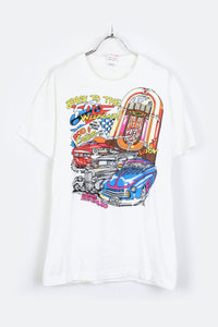 90'S MADE IN USA BACK TO THE 50'S T-SHIRT / WHITE [SIZE: M USED] [金沢店]
