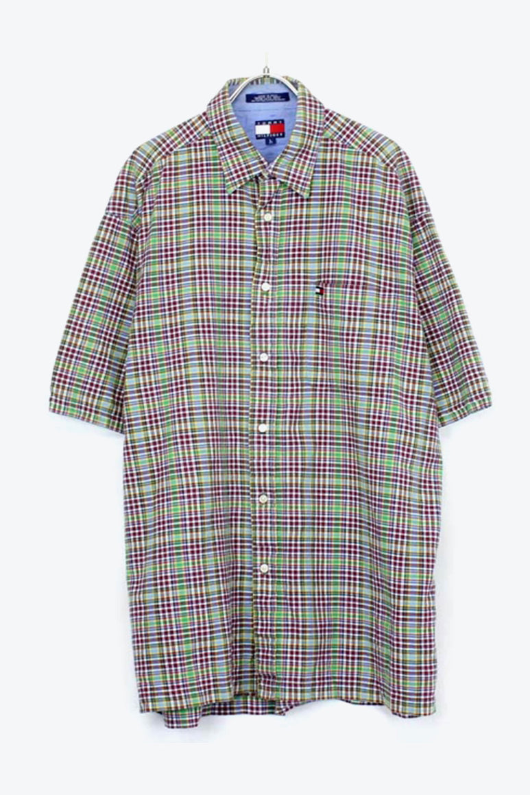 90'S S/S CHECK SHIRT / MULTI【SIZE:L USED】【金沢店】