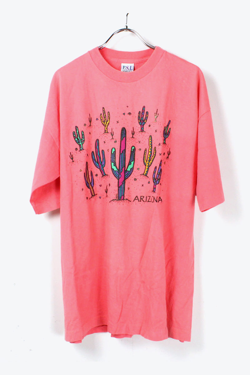 MADE IN USA PRINT T-SHIRT / PINK [SIZE:XL USED] [金沢店]